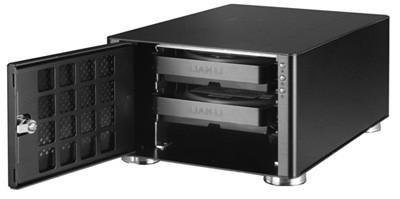 "Lian-Li EX-20N 2 Bay 3.5"" Sata Gigabit Black Aluminum NAS Enclosure FREE-LEX20N"