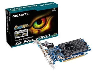 Gigabyte nVidia GeForce 210 1GB DDR3 64 Bit Memory Bus PCI Express Graphics Card