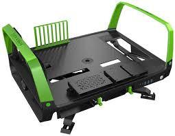 In Win X-Frame 2.0 Chassis - Black & Green (E-ATX, Open-Air, 1065W PSU)
